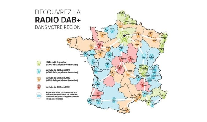 DAB+, digitalni radio, francuska, BFM Business, Chérie FM, Europe 1, FIP, France Culture, France Info, France Inter, France Musique, Fun Radio, Latina, Mouv ', M Radio, Nostalgie, NRJ, Radio Classique, Rire et Chansons, RFM, RMC, RTL , RTL 2, Skyrock, Virgin Radio